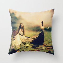 Lady of Shallot Throw Pillow