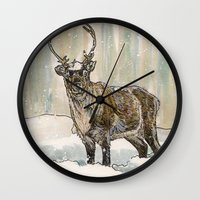reindeer Wall Clocks featuring Reindeer by Meredith Mackworth-Praed