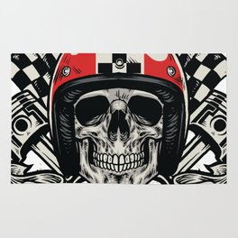 bikers skull in hand drawing style Rug