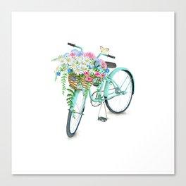 Vintage Aquamarine Bicycle with Flower Basket Canvas Print