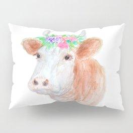 Flower Crown Cow Pillow Sham