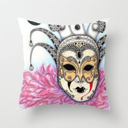 Máscara Veneciana Throw Pillow