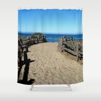 jewish Shower Curtains featuring Footprints to the Beach by Brown Eyed Lady