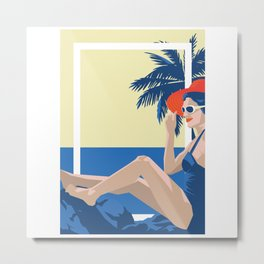 Art Deco Retro Summers Metal Print