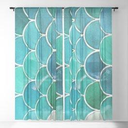Aqua Mermaid Teal Tile Sheer Curtain
