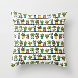 Houseplants Pattern - Colorful Potted Plants On Shelves Throw Pillow
