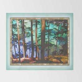 MOUNTAIN LAKE THROUGH HEMLOCK TREES Throw Blanket