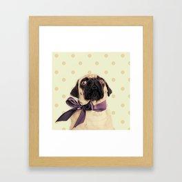 Polka Dot Pug Framed Art Print