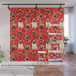 Red Pug Print Wall Mural
