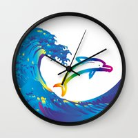 hokusai Wall Clocks featuring Hokusai Rainbow & dolphin_C by FACTORIE