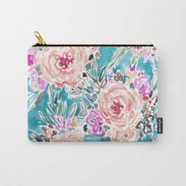 WAHINE WAYS Aqua Tropical Floral Carry-All Pouch