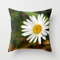 rileigh smirl Throw Pillows featuring Daisy by Rileigh Smirl