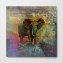 Abstract Grunge Elephant Digital art Metal Print