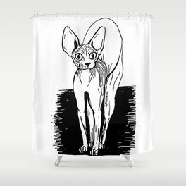 Black and White Sphynx Cat Line Drawing - Sphynx Lovers Gift - Naked Cat - Wrinkly Kitty Shower Curtain