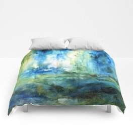 Contemporary Abstract Painting Spring Rain Comforters