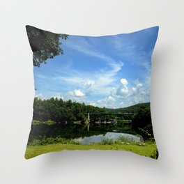 Summer Cloud Parade Delaware River View Throw Pillow