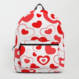 Red and White Hearts In Hearts Backpack
