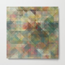 Chic Abstract Retro Triangles Mosaic Pattern Metal Print
