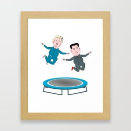 Trump and Kim Jong Un Framed Art Print