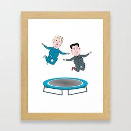 Trump and Kim Jong Un Framed Art Print