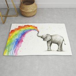 Baby Elephant Spraying Rainbow Rug