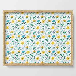 Summer flowers in yellow and blue in white background Serving Tray