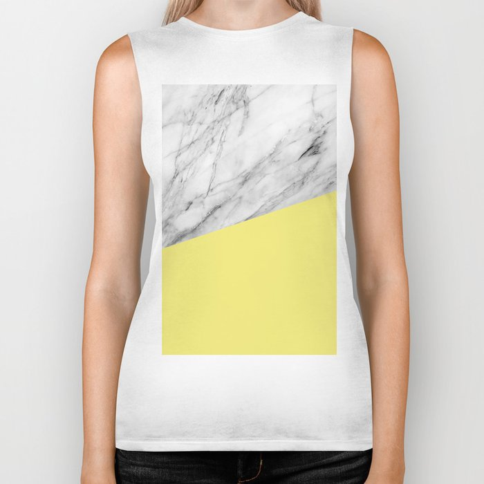 Marble and Yellow Color Biker Tank