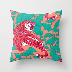 Scarlet tigers on lotus flower field. Throw Pillow