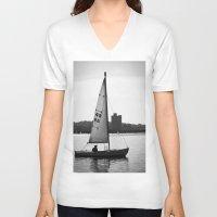 sailboat V-neck T-shirts featuring Sailboat by Jill Deering Creative