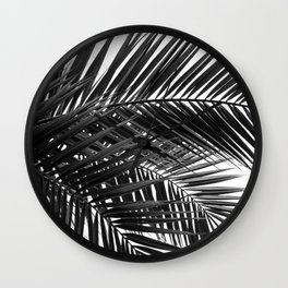 Tropical Palm Leaves - Black and White Nature Photography Wall Clock
