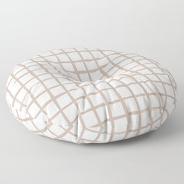 Strokes Grid - Nude on Off White Floor Pillow