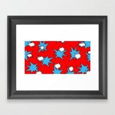 Stars (Blue & White on Red) Framed Art Print