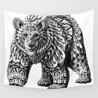 ornate elephant Wall Tapestries featuring Ornate Bear by BIOWORKZ