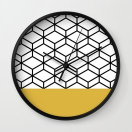 Geometric Honeycomb Lattice Color Block in Black and White and Mustard. Modern. Clean. Minimalist Wall Clock