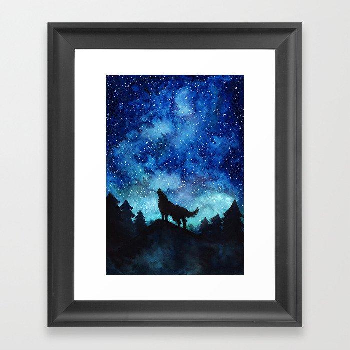 Wolf Galaxy Gerahmter Kunstdruck