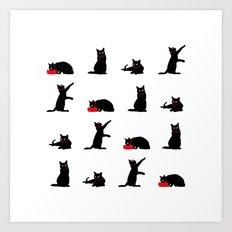 Cats Black on White Art Print