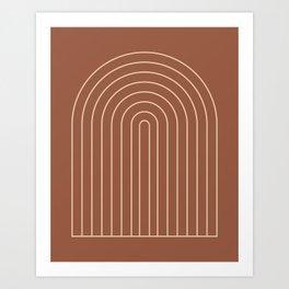 Geometric Lines in Terracotta 2 Art Print