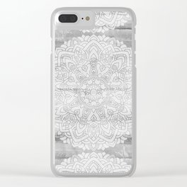 Silver lace mandala design Clear iPhone Case