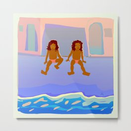 Childhood in front of the Ocean Metal Print