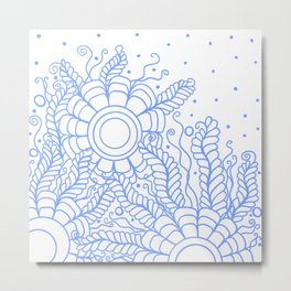 Doodle Art Three Flowers Vines – White and Blue Metal Print
