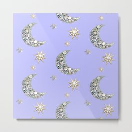Vintage pearl button moon and stars on blue Metal Print