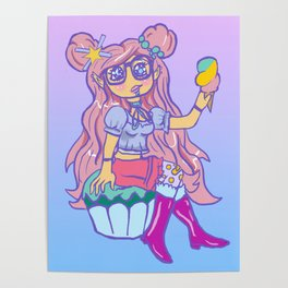 Chibi Kawaii Pastel Dessert Girl Sitting On Cupcake Eating Ice Cream Poster