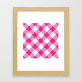 Gingham - Pink Framed Art Print