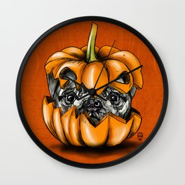 Halloween Pumpkin Pug Wall Clock