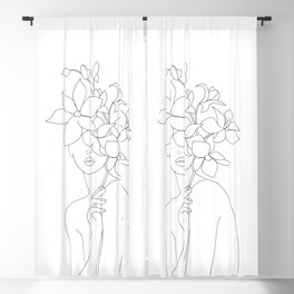 Minimal Line Art Woman with Orchids Blackout Curtain