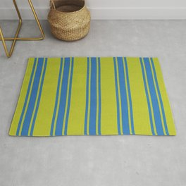 Blue lines on a yellow background Rug
