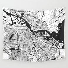Amsterdam Map Gray Wall Tapestry