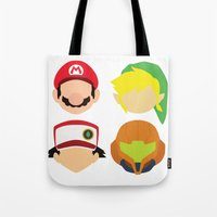 nintendo Tote Bags featuring Nintendo Greats by MoleFole