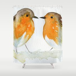 Robins in Love Shower Curtain