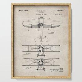 Biplane Patent - Aviation Art - Antique Serving Tray